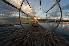 Fisherman at Inle Lake (ccaggi) Tags: sunset lake net boat fisherman nikon myanmar 1x 500px redbubble d3s