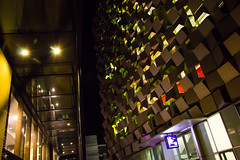 Cheese Grater (AnnMelanie) Tags: blue red yellow lights twilight bokeh sheffield colourful carpark southyorkshire cheesegrater