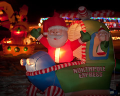 NORTHPOLE EXPRESS (IndyEnigma) Tags: santa christmas decorations holiday snow night lights dof bokeh indiana helicopter inflatable d80