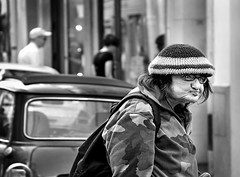 """Paris, the other side"" (Ges Rules ) Tags: street city urban blackandwhite woman paris face hat car glasses misery pars pobreza otherside miseria indigence"