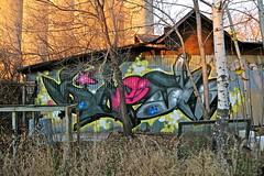 Daesk. (Urban Camper.) Tags: urban color building art fall artwork rust paint decay tag stpaul minneapolis twincities piece aerosol graffit aerosolart daesk daysk daesq