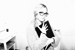 jov (carleigh~) Tags: life travel winter bw white black cute nature girl beautiful fashion vintage hair happy photography glasses sweater model natural room grain hipster makeup clothes spots blonde teenager grainisgood tumblr uploaded:by=flickrmobile flickriosapp:filter=nofilter