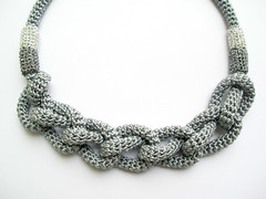 Grey necklace (LindaLejn) Tags: wedding fashion modern grey necklace handmade unique bib crochet tube craft jewelry rope knot gifts cotton gift trendy statement accessories nautical etsy accessory knotnecklace ropenecklace crochetrope lindalejn