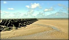 Beach Breaker, Wind Maker (Missy Jussy) Tags: england sky sunlight seascape beach clouds canon skyscape landscape sand rocks northwest horizon windmills lancashire newbrighton cannon600d