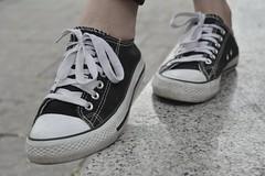 Walk (quiteandpecejuly) Tags: street blackandwhite black foot shoes walk converse streetphoto summee