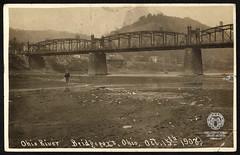 Real Photo Postcard: Bridgeport Bridge at Low Water, October 15, 1908 (Ohio County Public Library) Tags: wheelingwv wheeling wheelingisland backchannel bridgeport bridges brigeportbridge lowriver ohioriver drought realphotopostcard