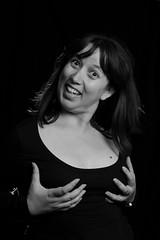 The funniest moments (R.D. Gallardo) Tags: canon eos 600d raw retrato estudio saray sexy tits boobs handbra bra divertido tetas bw blanco black bn negro white woman girl