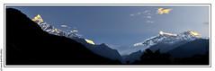 Sunrise at Ghatchok (Nepal) (L'Abominable Homme de Rires) Tags: nepal sunrise annapurna machhapuchhre annapurnaiii landscape tamron 2470mmf28 canon 5dmkiii nb noiretblanc blackwhite atalante trek mardihimal