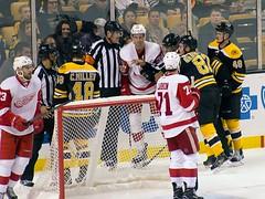 Officials separate #39 Anthony Mantha and #82 Jesse Gabrielle (Odie M) Tags: nhl hockey icehockey boston tdgarden preseason teamsport sport ice anthonymantha jessegabrielle bostonbruins detroitredwings brianlashoff colinmiller dylanlarkin linusarnesson