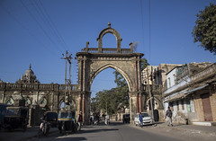 through we go (Tin-Tin Azure) Tags: mahabat maqbara palace mausoleum bahaduddinbhai hasainbhai junagadh gujarat india nawab 18th century chitkana chowk tomb baharuddin bhar blue sky ruin detail architecture