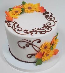 Autumn Flowers (Edible Delights) Tags: autumn flowers fall cake gumpaste fondant leaves scrollwork