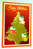 Christmas card 13_2016 (tengds) Tags: christmascard card handmadecard red white recycledcard reusedcard christmastree yellow green star papercraft tengds christmasstockings stockings woodchips