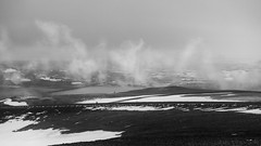 tales of bubbling lakes and smoking Earth (lunaryuna) Tags: iceland centralnorthiceland myvatnarea volcaniclandscape fumaroles geothermalactivity hotsteam steamingwater landscape lake snow ice fireandice blackwhite bw monochrome lunaryuna