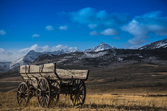 Wagon (connull lang) Tags: rockies wagon old vintage sky mountians farm