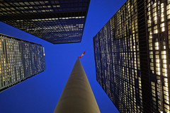 flag waving (Ian Muttoo) Tags: img20161026184630edit toronto ontario canada gimp bluehour tdcentre torontodominioncentre flag canadian wave waving tower towers miesvanderrohe