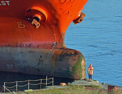 Man over Machine (robmcrorie) Tags: bonar orange quest barry docks dow corning chemical works ship boat tanker