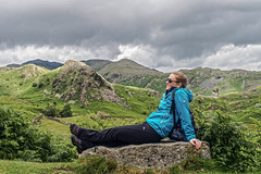 Relaxing in the Lake District (Malcolm Murray) Tags: hike goodday england relax cloudy mountains walking hill jacket clouds blue lakedistrict outdoors relaxed green mountain conniston walk