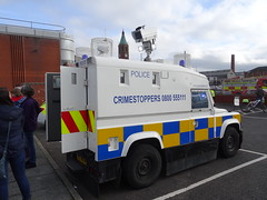 PSNI Penman CCTV Unit, Belfast 2016 (nathanlawrence785) Tags: psni police service northern ireland ni land rover pangolin ovik penman engineering ruc tangi alr mk4 belfast bankmore street donegal pass patrol tsg tactical support group riot van meat wagon antrim steeple parkhall camp barracks base cctv camera unit the troubles