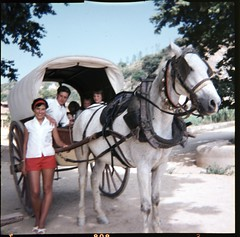 img333 (foundin_a_attic) Tags: 1970s glass slide 77 70s fashion hourse cart woman man kids red shorts white bells
