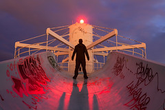 Emergence (waterfallout) Tags: ontarioplace op urbex urbandexploring urbanexploration selfie selfportrait waterslide dusk night toronto ontario canada bando bandos silhouette surreal jameshackland abandoned forgotten abandonedwaterpark waterpark