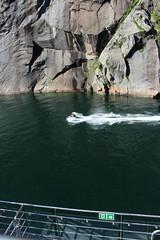 Entering the Trollfjord, Accompanied by a Jet Ski (2) (Phil Masters) Tags: 21stjuly july2016 norwayholiday norway raftsund raftsundet thetrollfjord trollfjorden trollfjord wake jetski shipsandboats