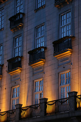 day and night, light and shadow (Olli.Dr) Tags: architecture lights evening oslo city norway christmas market canon balcony windows spikersuppa