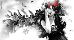 Eoo...  [red]! M &  (AyE  I'  voT) Tags: digitalart digitalpainting digitalfantasy painting artworks portraits beauty illustrations artportrait ritratto retrato portrature dreamy vision magical emotionalart emotional blackwhite monochrome bw blackred wings fairy faires magicalwings  bwwithatouchofcolour