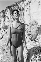 La Bocca della Verit. (subliner) Tags: portrait retrato bocca della verita film black white byn beach scuplture escultural self developed nipples nude beauty