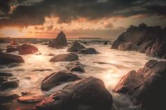 Catching The Tide (garethleethomas) Tags: rocks sea tide coast water longexposure canon pembrokeshire wales uk sunset sun calm beautiful outdoor rock sky saescape landscape seaside shore shoreline