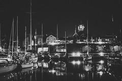 The Harbour Nights (mripp) Tags: harbour hafen yacht night nacht black white mono monochrome city urban stadt historic landscape stadtlandschaft retro old vintage beauty dark ships schiffe cityscape stralsund germany deutschland europe europa