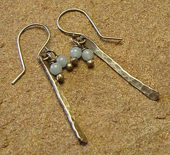 Angelite Sterling Silver Filled Stick Earrings (Laurie's Jewel Box) Tags: silver hammered handmade stick earrings angelite