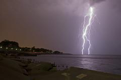 watching the lightening (Rotating Frame) Tags: lake chicago water night mi michigan il strike lightening strom thunder