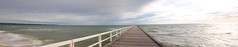panorama of pier (Laws Photography | www.lawsphotography.com) Tags: old longexposure panorama white black water pier waves timber rusty