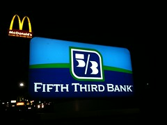 5th/3rd - Pittsburgh, PA (tossmeanote) Tags: blue green sign night pittsburgh bank mcdonalds third 53 fifth 2010 iphone tossmeanote
