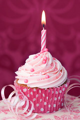 Pink birthday cupcake (LadybugJulie) Tags: cupcake cupcakes cake birthday candle pink cakes sprinkles frosting icing buttercream nobody food sweet dessert snack fairycake fairycakes unhealthyeating baking baked homebaking homebaked pinkbackground againstpink delicious junkfood unhealthydiet fattening calories iced frosted vertical birthdaycake mini small miniature tiny candles one oneobject magenta plate dragees birthdaycakecandle birthdaycakecandles lit burning flame firstbirthday party celebration streamers