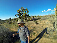 Covington Crest Trail (simbajak) Tags: park blue shadow portrait sky cloud 3 tree hat clouds self joshua hiking staff national hero stick aussiehat yucca selfie camelbak brevifolia gopro telescoping