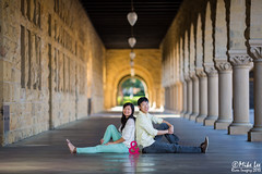 Enagement Shoot Stanford (Riven Imagery) Tags: camera 3 building beautiful architecture canon happy photography engagement amazing couple shoot mark iii flash joy off walkway stanford stunning 5d column 135 cheerful pillars mk symetric ef135l 580exii 5d3