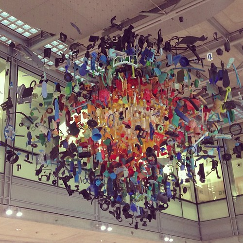 Stuart Haygarth's striking 'Strand' installation @macmillancancer @uclh made of objects found on his 500-mile coastal walk from Gravesend to Land's End #cancer