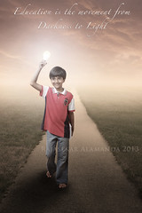 Education--2x3 (Rajasekar Alamanda) Tags: light boy bulb clouds 35mm dark dawn book education fuji darkness dusk fujifilm enlightenment brightness xpro1