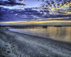 Beautiful Light on Walnut Beach (Singing With Light) Tags: morning november beach sunrise photography 1 pier pentax ct k5 walnutbeach charlesisland 2013 miilford singingwithlight singingwithlightphotography