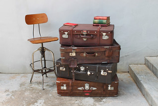 Stack of Suitcases With Toledo Stool