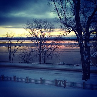 Lake Champlain tries to freeze solid. Sun rise...