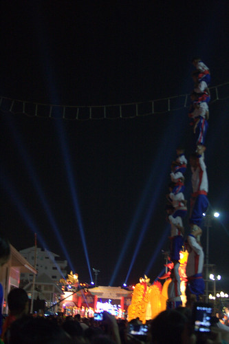 Column of acrobats