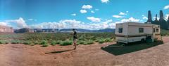 Good camping spot (flippers) Tags: vacation arizona usa mountain holiday mountains film rock america 35mm unitedstates desert horizon wide roadtrip panoramic peter pete swinglens rv navajo monumentvalley boob horizonperfekt breakingbad oljatomonumentvalley istsébii'ndzisgaii