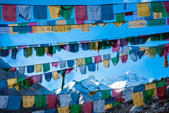 Sun rising on Everest at 8 848 meters from Everest base camp, Tibet, China. (David Ducoin) Tags: world china blue sky snow cn temple asia bc buddha buddhist prayer religion buddhism tibet summit himalaya everest moutain basecamp highest prayerflag rongbuk 8000m