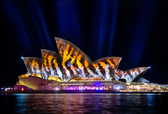 Vivid Sydney 2014 - Opera House (Kokkai Ng) Tags: longexposure travel light orange tourism night dark design pattern tiger sydney multicoloured australia illuminated line projection brightlight newsouthwales psychedelic operahouse tigerstripes striped sydneyharbour sydneyoperahouse lightbeam sydneyaustralia traditionalfestival buildingexterior placeofinterest internationallandmark builtstructure vividsydney