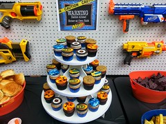 Duncan and Ryan's Nerf War Birthday Party (death by cupcake) Tags: party cupcakes baking war camo cupcake nerf edible toppers fondant