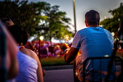 Man with Sparkler (Color) (awdylanis) Tags: portrait 3 man fire florida fireworks streetphotography july stranger sparklers sarasota 4thofjuly sparkler 2014 100portraits 100portraitsproject