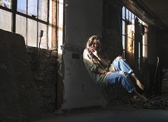 02 - Opening (nikaylasnyder) Tags: levitation levitate float light windows abandoned building love jeans ripped flowy long hair fabric hiding darkness shadows shadow curious ecstasy jesus christ god catholic