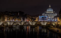 Roman Classic (Explored 8-11-2016) (mcalma68) Tags: rome italy cityscape urban nightphotography architecture water bridge cathedral stpeters